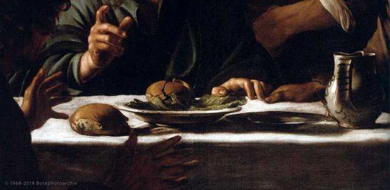 Caravaggio, Cena in Emmaus (particolare), 1606, Pinacoteca di Brera, Milano
