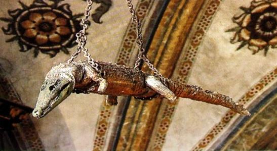 71. Coccodrillo (Crocodilus niloticus) imbalsamato XV sec. Santuario della Beata Vergine delle Grazie, Curtatone, (Mantova).