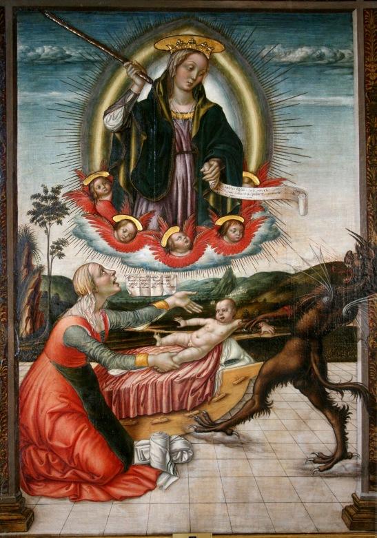 73. Nicolò di Liberatore, detto l'Alunno, 1430 1502, Madonna del Soccorso, olio su tela, 1482, Galleria Colonna, Roma