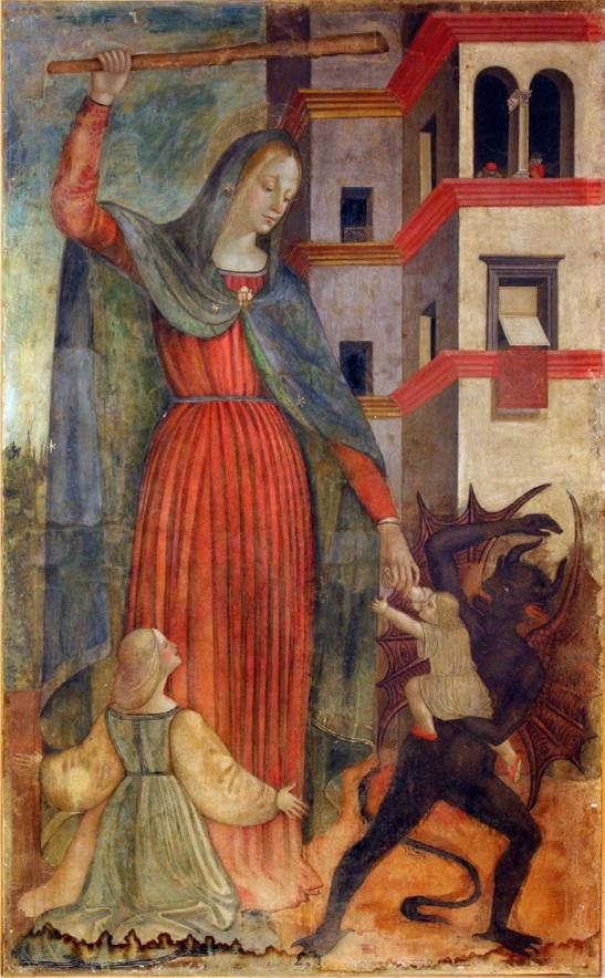 73. Scuola di Bernardino Mariotto (1478 -1566) sec XVI Madonna del Soccorso, Museo Civico Pinacoteca Palazzo Lazzarini, Morrovalle.