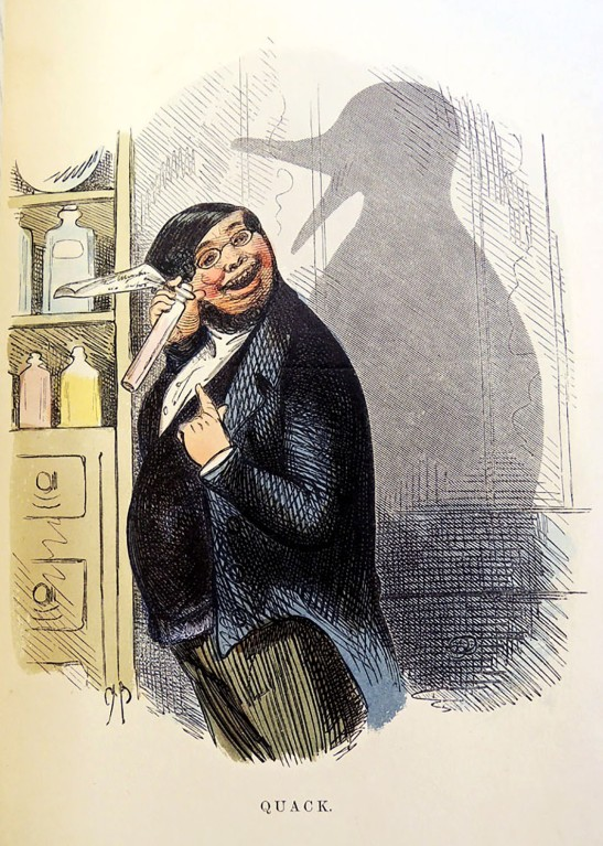 74. Quack (il Papero), illustrazione di Charles Henry Bennett dalla Shadows series. Incisione xilografica colorato a mano, 1857 Collezione della famiglia Bennett.