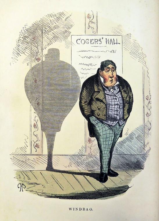 74. Windbag (il Parolaio), illustrazione di Charles Henry Bennett dalla Shadows series. Incisione xilografica colorato a mano, 1857 Collezione della famiglia Bennett.