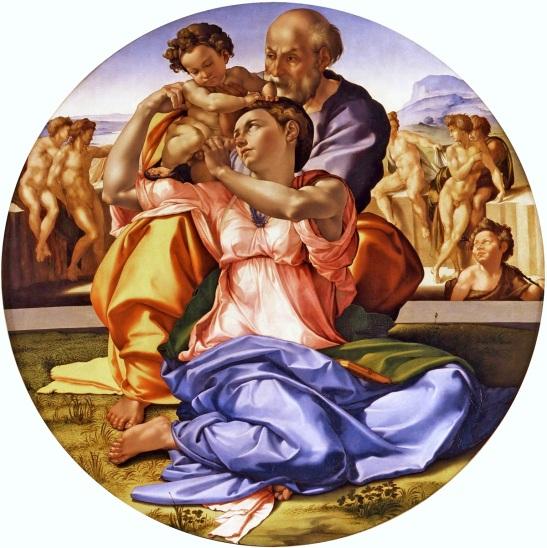 77. Michelangelo Buonarroti, Tondo Doni, 1504–1506, Tempera su tavola, 120×120 cm, Galleria degli Uffizi, Firenze.