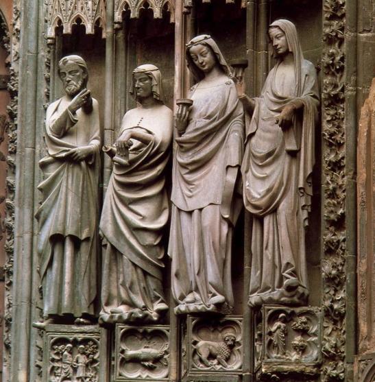 79. Cattedrale di  Notre Dame, Portale destro, la parabola delle Vergini sagge e delle vergini stolte, XV sec. Strasburgo Francia