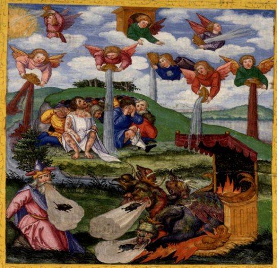 79. Mathias Gerund,  1530, Le sette coppe dell'ira divina miniatura,  Folio 298r_Rev16, Bibbia di Ottheinrich, Biblioteca di Stato della Baviera