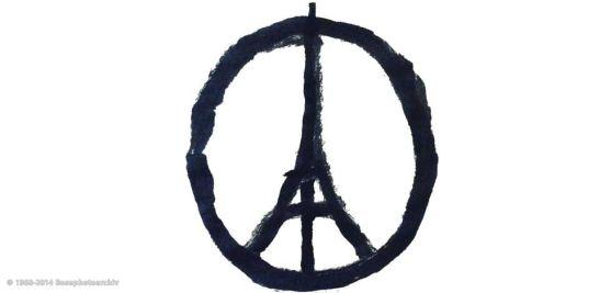 Banksy, Paris Peace - In questi semplici tratti lo street artist Banksy sovrappone due simboli eloquenti, la tour Eiffel e il simbolo della pace. Un simbolo, un monito, una speranza