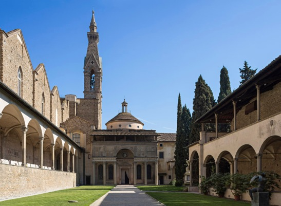 The First Cloister, called Cloister o Arnolfo, with the facade of the Pazzi Chapel Florence Pazzi Chapel