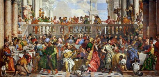 Paolo Veronese, Nozze di Cana, 1563. Una descrizione dell'opera si trova al termine della meditazione sul Vangelo.