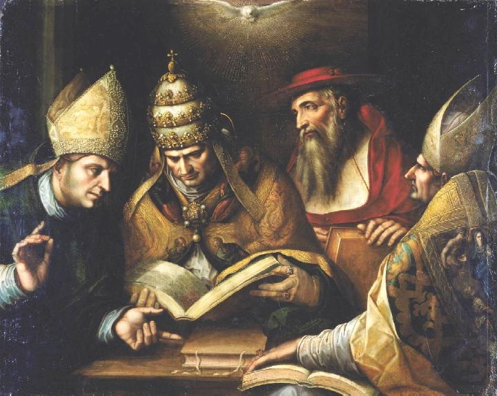 Agostino e i Padri della Chiesa Ambrogio, Gerolamo e papa Gregorio Magno