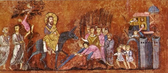 Ingresso di Gesù in Gerusalemme(Codex purpureus, evangelario greco del VI sec. di origine mediorientale,Museo diocesano di Rossano Calabro).jpg