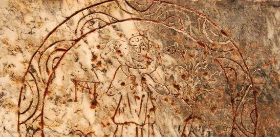 Lapide romana con la figura del Buon Pastore, terme di Diocleziano, parte del Museo nazionale romano, Roma.