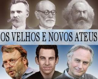 Na parte superior, Nietzsche, Freud e Marx. Na parte inferior, Hitchens, Harris e Dawkins.