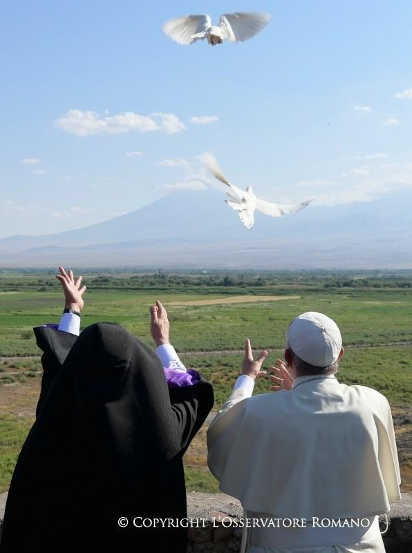 Due colombe bianche verso l'Ararat