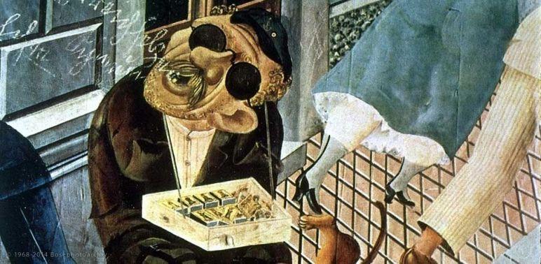 Otto Dix, Il venditore di fiammiferi, 1920,olio e collage su tela, Staatsgalerie, Stoccarda