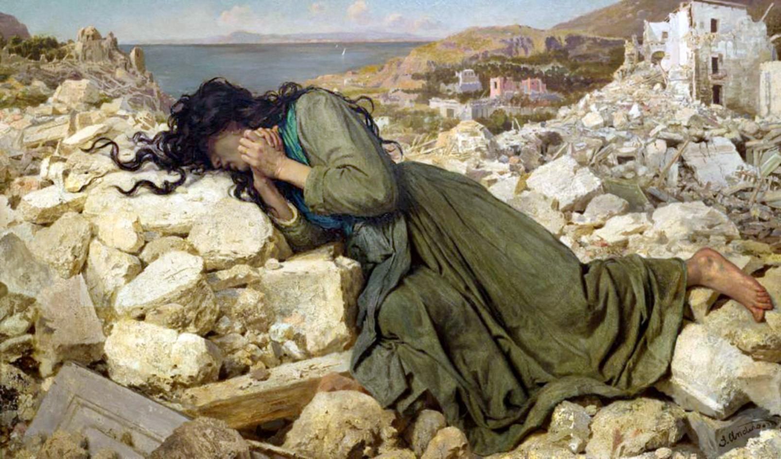 Sophie Anderson, Dopo il terremoto, 1884 olio su tela 81,9 x 138,4 cm    Auckland Art Gallery Toi o Tāmaki, (dono di  Viscount Leverhulme, 1924) Nuova Zelanda.jpg
