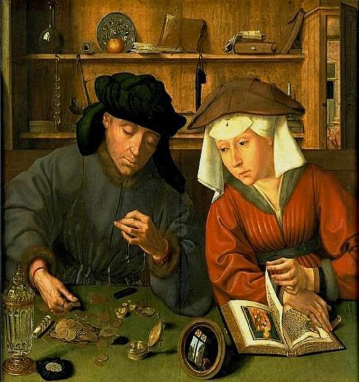 il cambiavalute del XV secolo dipinto da Quentin Massys (conservato al Louvre di Parigi).jpg