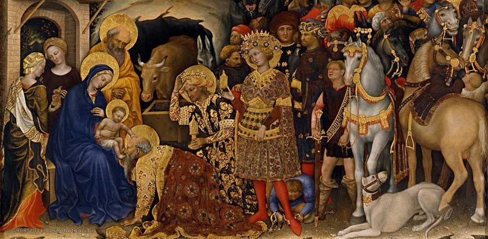 Gentile da Fabriano, Adorazione dei magi (Pala Strozzi), 1423, Tempera, oro e argento su tavola, 300×282 cm, Galleria degli Uffizi, Firenze.jpg