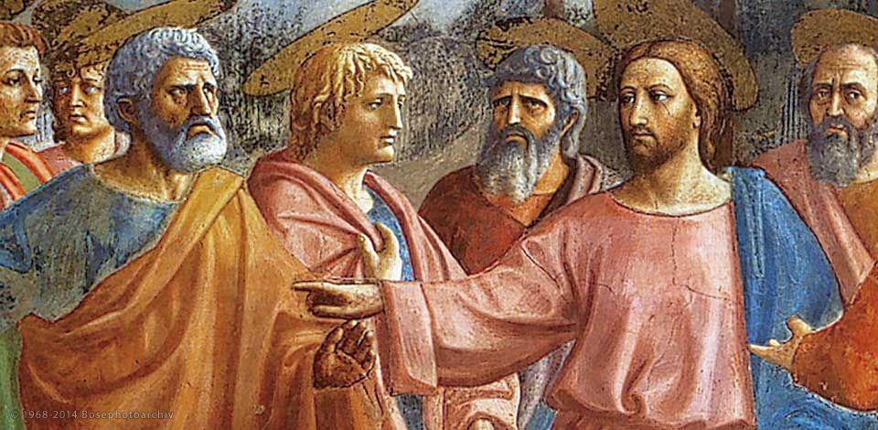 Masaccio, Il tributo (particolare), 1425 circa, affresco, 255×598 cm, cappella Brancacci in Santa Maria del Carmine, Firenze.jpg