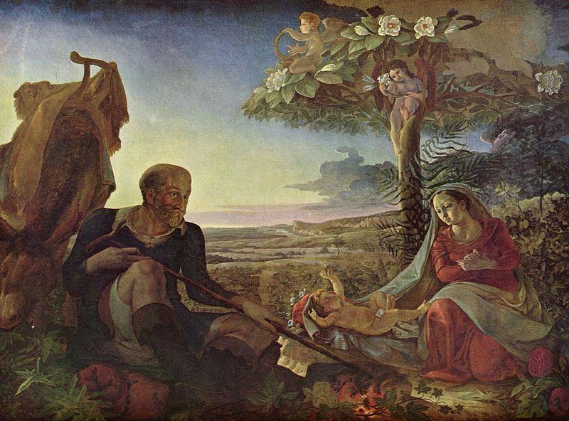 (  Le repos pendant la fuite en Egypte 1805-1806, Hambourg Kunsthalle Allemagne, ne pouvant proposer l'image contemplée par le cardinal ratzinger chez des amis!).jpg