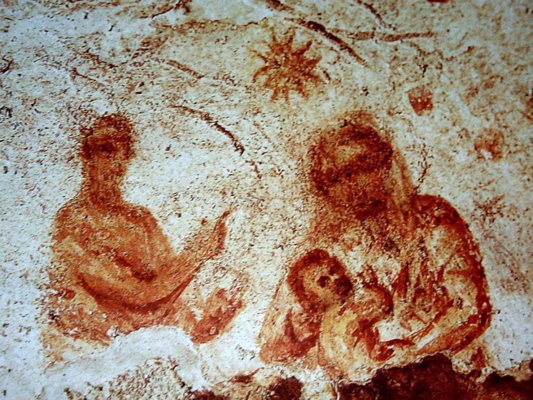 Balaam indica la stella sulla Madonna nelle Catacombe di Priscilla.jpg
