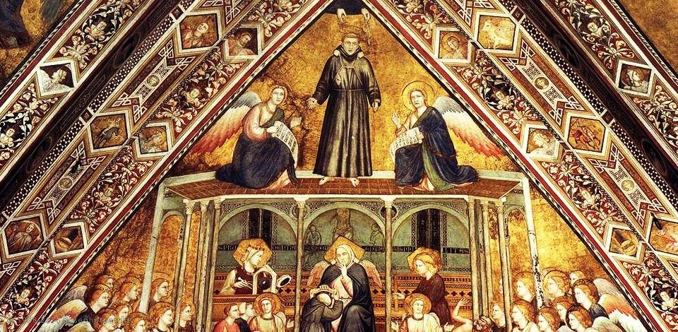 Maestro delle vele, Allegorie francescane, crociera della basilica inferiore di Assisi, 1334 circa.