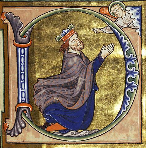 Miniatura D maiuscola con immagine del Salterio di Ingeborg XIII secolo