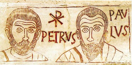 Pietro e Paolo in una incisione del IV secolo rinvenuto in una catacomb