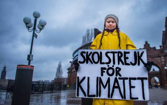 Swedish teenager Greta Thunberg during a climate manifestation in Stockholm