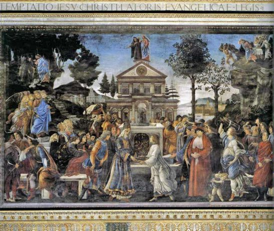 Sandro Botticelli, Tentazioni di Cristo, Cappella Sistina