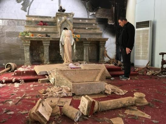 A Catholic church destroyed by ISIS militants in Karamdes, Iraq