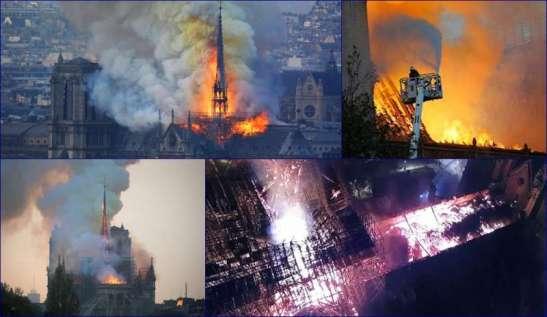 Quattro immagini del terribile incendio che ha distrutto la parte superiore della Cattedrale