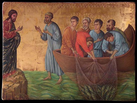 Duccio di Buoninsegna, La pesca miracolosa, 1308-1311