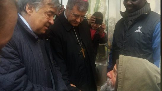 Fratel Biagio con il sindaco di Palermo Orlando e l'arcivescovo Lorefice