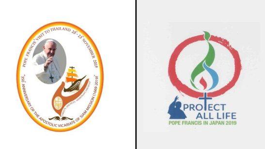 I due loghi del viaggio apostolico del Papa in Thailandia e Giappone