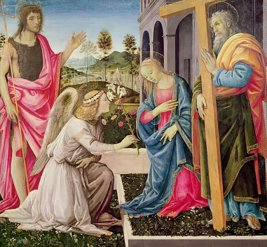 Filippino Lippi - Annunciation with St Joseph and St John the Baptist c1485 (tempera on panel) - (MeisterDrucke-137378)